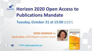 OpenAIRE Webinar: Horizon 2020 Open Research Data Pilot @ Webinar
