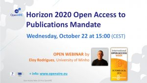 OpenAIRE webinar: Horizon 2020 Open Access to Publications Mandate