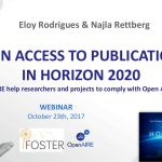 "Conteúdos do Webinar OpenAIRE sobre ""Open Access to publications in H2020"""